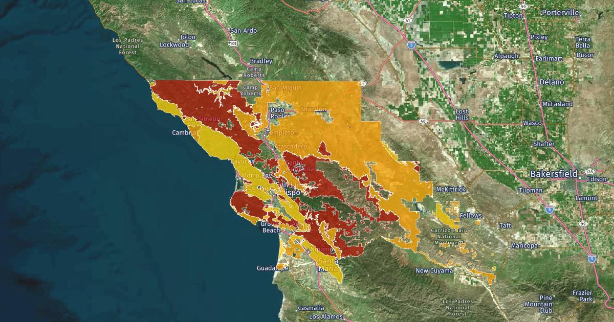 San Luis Obispo County Fire Hazard Severity Zones In Sra